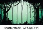 illustration of deep forest ... | Shutterstock .eps vector #695338444