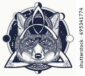 fox viking tattoo and t shirt... | Shutterstock .eps vector #695341774