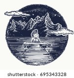 mountains tattoo and t shirt... | Shutterstock .eps vector #695343328