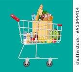 shopping cart full of groceries ... | Shutterstock .eps vector #695344414