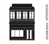 facade building sign... | Shutterstock .eps vector #695345224