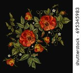 embroidery wild roses  dogrose... | Shutterstock .eps vector #695345983