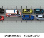 ambulance car in traffic jam... | Shutterstock . vector #695350840