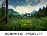 nature in mountains. old wooden ... | Shutterstock . vector #695353279
