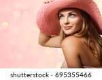 fashion pretty young woman in... | Shutterstock . vector #695355466