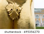Small photo of Fig leaf covering the genitalia on the male statue