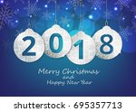 merry christmas and happy new... | Shutterstock .eps vector #695357713