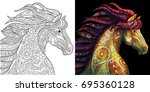 coloring page of mustang horse. ... | Shutterstock .eps vector #695360128