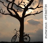 landscape with a bicycle... | Shutterstock . vector #695360734