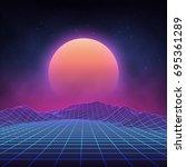 futuristic retro landscape of... | Shutterstock .eps vector #695361289