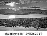 tromso and kvaloya mountains... | Shutterstock . vector #695362714