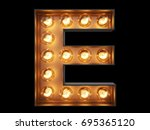 light bulb glowing letter... | Shutterstock . vector #695365120