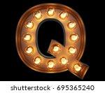 light bulb glowing letter... | Shutterstock . vector #695365240