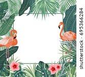 vector tropical jungle... | Shutterstock .eps vector #695366284