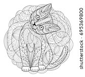 cat coloring page | Shutterstock .eps vector #695369800