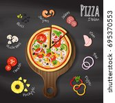 pizza on wood cutting board on...   Shutterstock .eps vector #695370553
