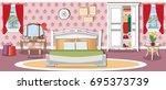modern bright bedroom interior... | Shutterstock .eps vector #695373739