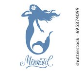 mermaid  silhouette  hand drawn ... | Shutterstock .eps vector #695374099