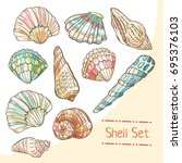 shell set isolated on white... | Shutterstock .eps vector #695376103