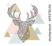 polygonal head deer portrait.... | Shutterstock .eps vector #695378134