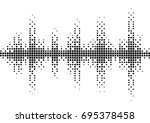 halftone sound wave black and... | Shutterstock .eps vector #695378458