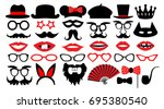 retro party set. party birthday ... | Shutterstock .eps vector #695380540
