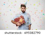 unhappy displeased young male... | Shutterstock . vector #695382790