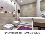 bathroom with a beautiful... | Shutterstock . vector #695384338