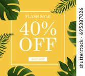 summer banner with tropical... | Shutterstock .eps vector #695387026