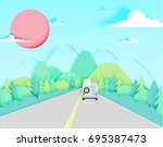 road trip with car and natural... | Shutterstock .eps vector #695387473
