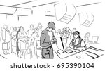 queue at the supermarket  pays... | Shutterstock .eps vector #695390104