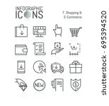set of simple thin line icons ... | Shutterstock .eps vector #695394520