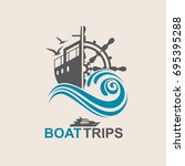 helm wheel image with yacht and ... | Shutterstock .eps vector #695395288