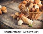 mushroom boletus over wooden... | Shutterstock . vector #695395684