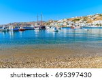 Beach And Fishing Boats In...