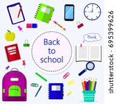 back to school background with...   Shutterstock .eps vector #695399626