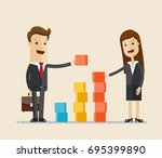 business man and woman ... | Shutterstock .eps vector #695399890