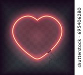 neon heart sign on transparent... | Shutterstock .eps vector #695406280