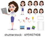 beautiful business woman set.... | Shutterstock .eps vector #695407408