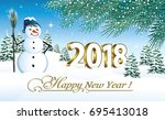 2018 christmas card with a... | Shutterstock .eps vector #695413018