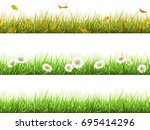 grass with fallen leaves  with... | Shutterstock .eps vector #695414296