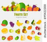 fruits color flat icons set for ...   Shutterstock .eps vector #695422300