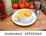 Small photo of Turkish famous lentil soup / Mercimek Corba