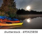 moonlight reflecting in a lake... | Shutterstock . vector #695425858
