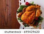 roasted whole chicken with... | Shutterstock . vector #695429620
