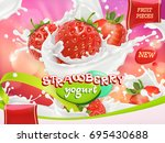 strawberry yogurt. fruits and... | Shutterstock .eps vector #695430688