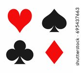 playing card suits isolated on... | Shutterstock .eps vector #695437663