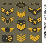 military army badge set... | Shutterstock .eps vector #695437918