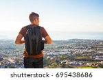 tourist on the top. sport and... | Shutterstock . vector #695438686