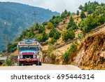 view on old school bus used as... | Shutterstock . vector #695444314